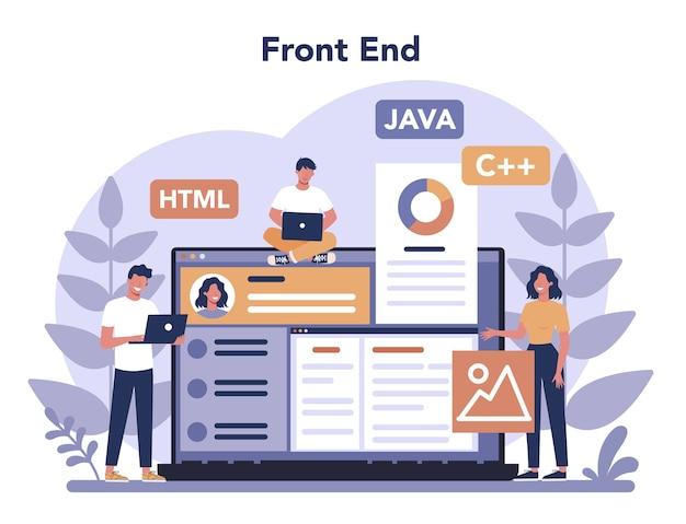 Concetto di sviluppo frontend. miglioramento del design dell'interfaccia del sito web. programmazione e codifica. professione it. illustrazione vettoriale piatto isolato