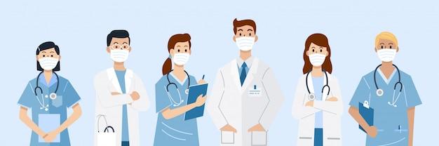 Eroi di prima linea, illustrazione di personaggi di medici e infermieri che indossano maschere.