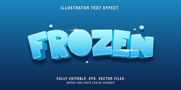 Effetto di stile di testo 3d congelato sul blu