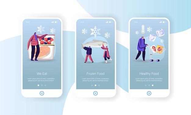 Modello di schermo a bordo della pagina dell'app mobile per alimenti congelati.