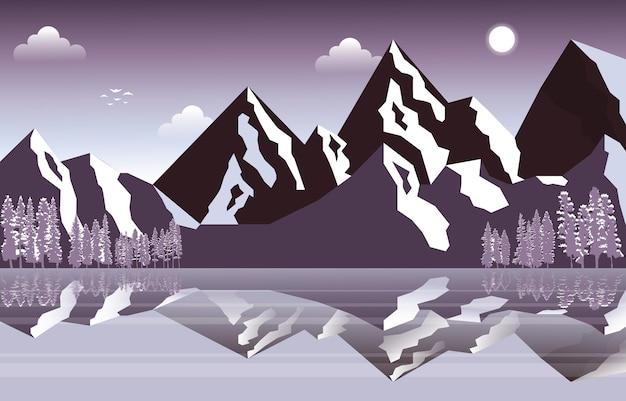 Frozen lake winter ice mountain pine nature landscape illustration