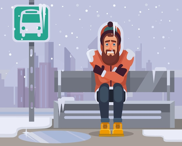 Personaggio di uomo congelato in attesa di autobus da molto tempo.