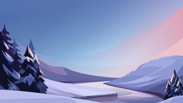 Fiume ghiacciato in serata. bellissimo paesaggio invernale.