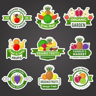 Distintivi di frutta. modello di cibo sano vitamina logo prodotto fresco naturale per l'insieme di vettore di simboli di marketing. distintivo di cibo biologico naturale illustrazione