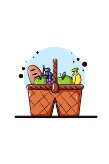 Un cesto di frutta e pane per l'illustrazione del picnic