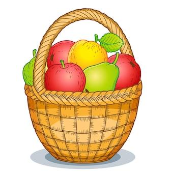 Illustrazione variopinta del cesto di frutta
