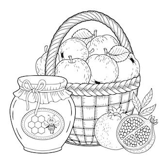 Design di cesto di frutta per libro da colorare