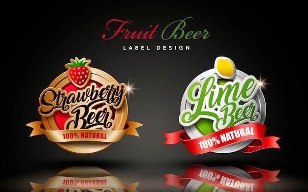 Illustrazione di progettazione dell'etichetta della birra alla frutta
