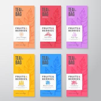 Set di etichette per tè alla frutta e bacche. pacchetto di layout di progettazione di imballaggi astratti Vettore Premium