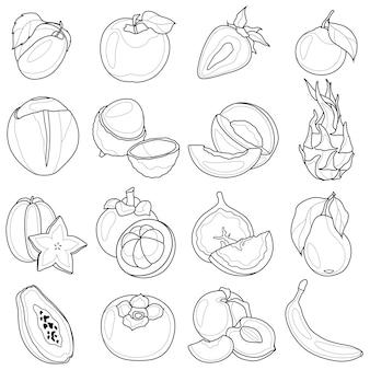 Insieme di frutta in bianco e nero. line art.libro da colorare antistress per bambini e adulti.