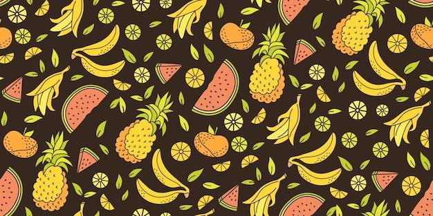 Reticolo senza giunte del fumetto di frutta. foglia di banana, mandarino di anguria, cibo dolce tropicale di ananas. Vettore Premium