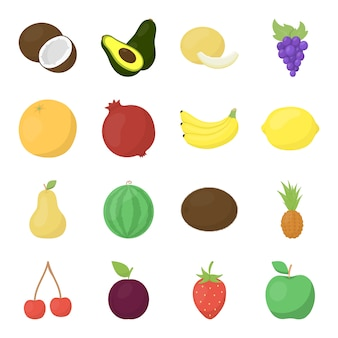 Insieme dell'icona di vettore del fumetto della frutta. illustrazione vettoriale di frutta cibo.