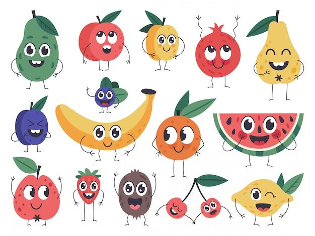 Carattere di frutta. scarabocchii le mascotte dell'alimento vegetariano, le emozioni comiche di frutti felici, la mela sveglia, la banana e le icone divertenti dell'avocado messe. mascotte della vitamina della frutta, illustrazione vegetariana della prugna della pera