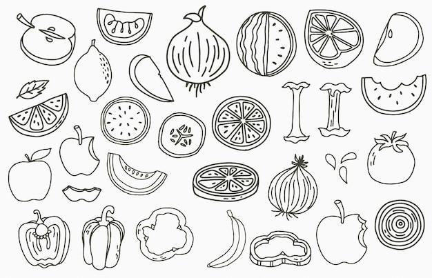 Logo della raccolta della frutta con mela, cipolla, limone, cetriolo.illustrazione di vettore per icona, logo, adesivo, stampabile e tatuaggio