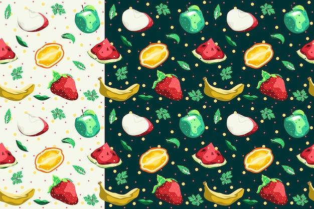 Disegno di vettore del reticolo senza giunte della raccolta della frutta