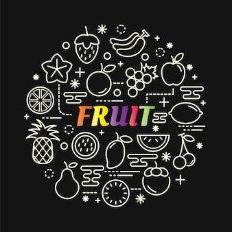 Gradiente di frutta colorata con set di icone di linea