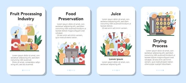 Set di banner per applicazioni mobili per l'industria frutticola.