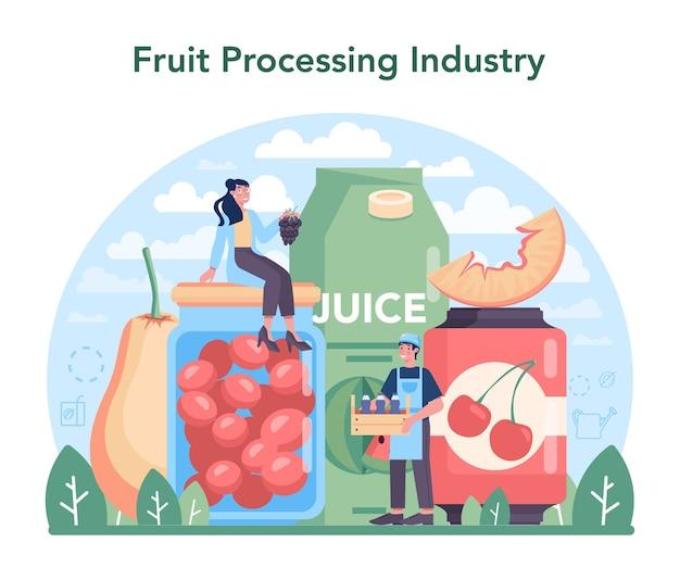 Industria frutticola e di trasformazione. illustrazione vettoriale piatto isolato