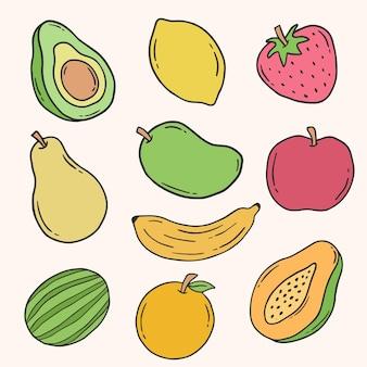 Elemento di doodle disegnato a mano di frutta