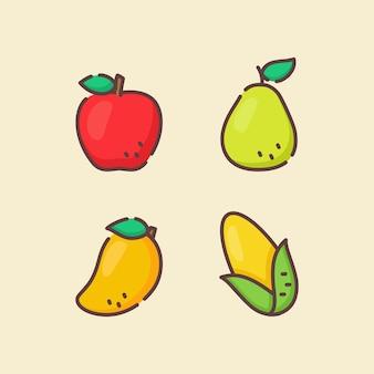 Set di icone di frutta raccolta mela pera mango mais bianco
