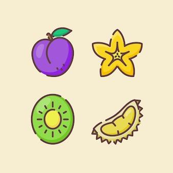Frutta icon set raccolta prugna starfruit kiwi durian
