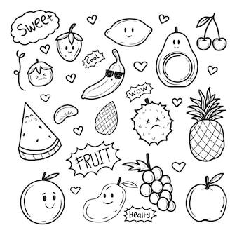 Colorazione disegnata a mano di scarabocchio delle icone della frutta