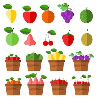 Vettore delle icone della frutta.