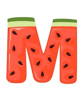 Frutta lettera m anguria stile cartone animato frutta design piatto illustrazione vettoriale su sfondo bianco