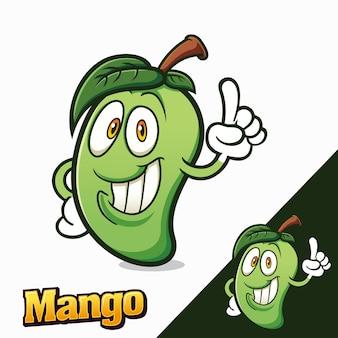 Personaggi della mascotte dei cartoni animati di fruit manggo Vettore Premium