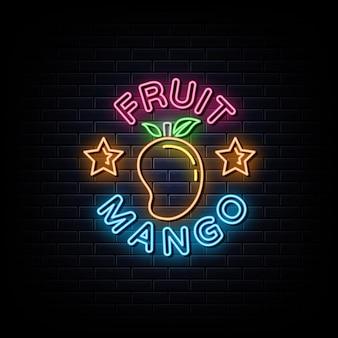 Insegne al neon di frutta mango