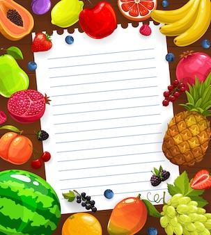 Modello di ricetta di cucina a base di frutta o insalata