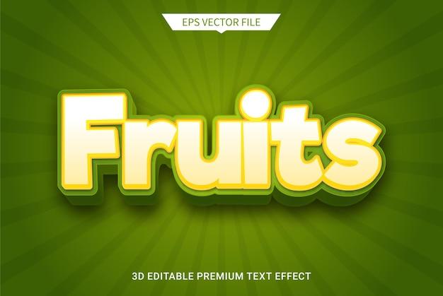 Effetto stile di testo modificabile 3d stile moderno di frutta fruit