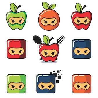 Set di logo di frutta ninja