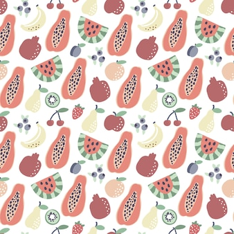Motivo frutta papaya banana anguria motivo senza cuciture stampa tropicale estiva