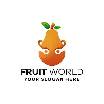 Modello di logo sfumato di frutta pera