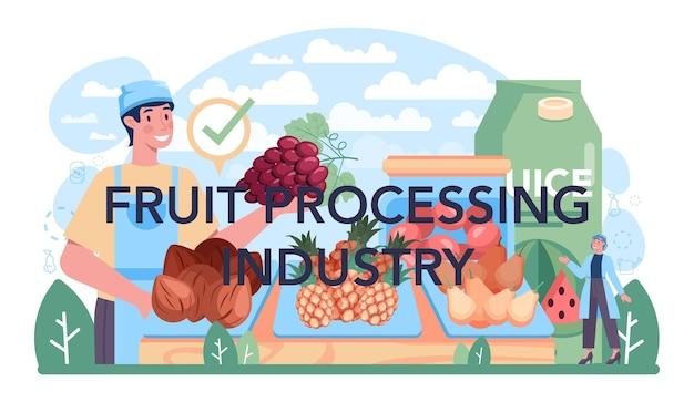 Idea tipografica dell'intestazione dell'industria di trasformazione della frutta dell'agricoltura