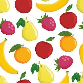 Modello senza cuciture di frutta su sfondo bianco