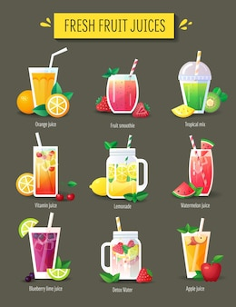 Frullato di frutta, set di succhi freschi. elementi del menu, illustrazione vettoriale