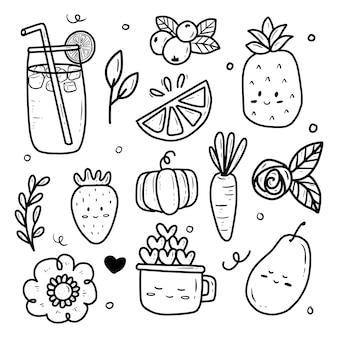 Vignetta di raccolta di icone di frutta estiva