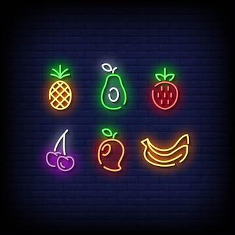 Simbolo di frutta insegne al neon stile