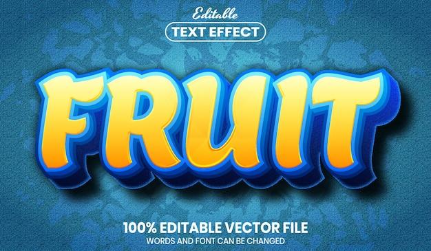 Testo di frutta, effetto di testo modificabile in stile carattere