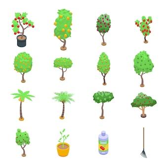 Set di icone di alberi da frutto. insieme di alberi da frutto