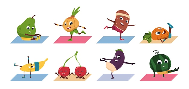 Yoga della frutta. personaggi divertenti di verdure dei cartoni animati che fanno posizioni yoga ed esercizi sportivi, cibo sano healthy