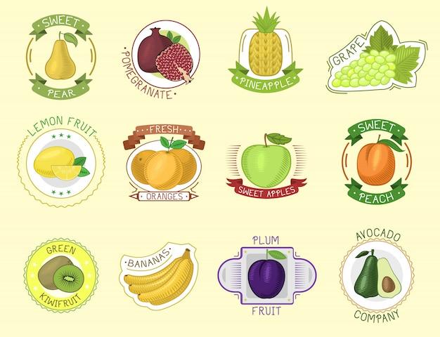 Distintivi di frutta.
