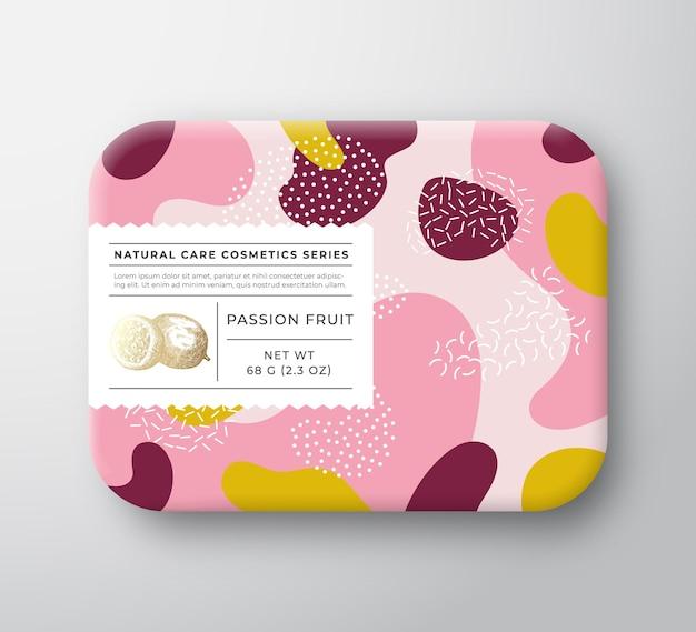 Scatola per cosmetici da bagno con frutta contenitore di carta avvolto vettoriale con coperchio per etichetta di cura modalità di progettazione dell'imballaggio...