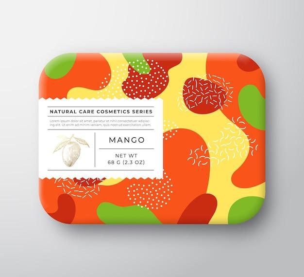 Contenitore di carta avvolto scatola di cosmetici da bagno di frutta con etichetta di cura.