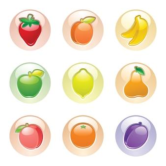 Bottoni di frutta mela, prugna, albicocca, banana, pera, pesca, arancia