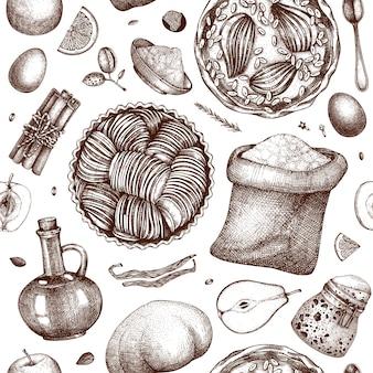 Torte di frutta processo di cottura seamless pattern