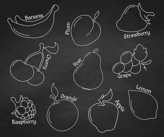 Frutti alla lavagna. icone di linea. illustrazione vettoriale