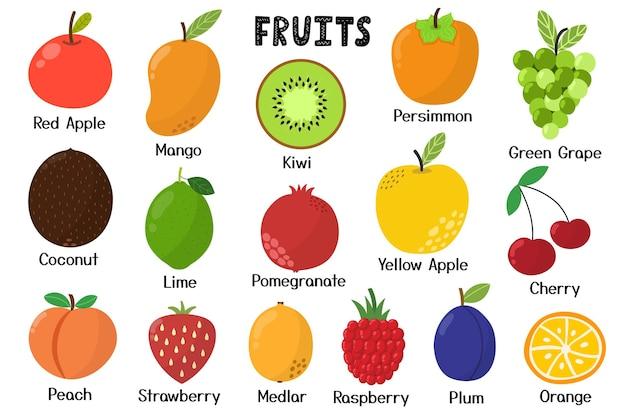 Raccolta di frutta elementi isolati cibo sano in stile cartone animato ottimo per ricette libro di cucina
